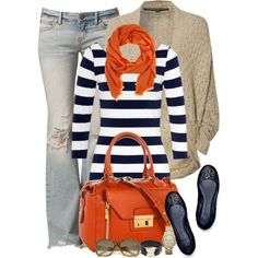Navy and orange