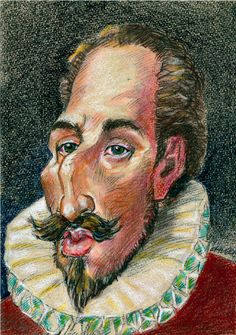 Caricatura de Cervantes, por Bertrand Daulle. 98 de 100. Centenario, Portrait, Painting, Don Quixote, Caricatures, Faces, Headshot Photography, Men Portrait, Painting Art