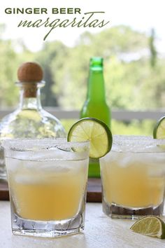 Ginger Beer Margaritas -- Ginger beer and agave silver tequila give the traditional margarita a refreshing new twist. Refreshing Cocktails, Summer Cocktails, Fun Drinks, Alcoholic Drinks, Party Drinks, Mixed Drinks, Margarita Recipes, Cocktail Recipes, Cocktail Ideas