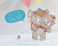 Kinder-Partyspiele - Bastelbogen Din A4 | Zirkus Elefant | Papier-Puppe - ein Designerstück von Illusine bei DaWanda