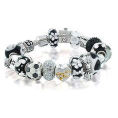 Bling Jewelry Black White Soccer Mom Silver Bead Bracelet Pandora... (4 320 UAH) ❤ liked on Polyvore featuring jewelry, bracelets, black, flower bracelet, black bangles, snake chain bracelet, heart jewelry and beaded flower bracelet