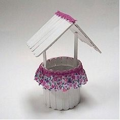 Have fun at your next party with this Craftstick Wishing Well. You can make them as favors or part of the centerpiece. wellness Craftstick Wishing Well Vbs Crafts, Popsicle Stick Crafts, Bible Crafts, Popsicle Sticks, Diy And Crafts, Arts And Crafts, Craft Stick Projects, Craft Stick Crafts, Projects To Try