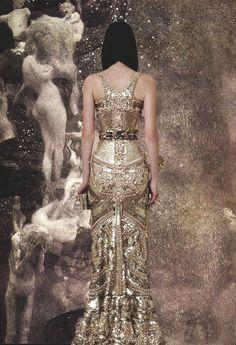 Givenchy Haute Couture F/W 2010, detail on Mariacarla Boscono x Gustav Klimt's Philosophy c.1900
