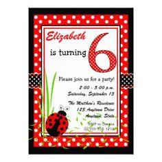 Cute Ladybugs 6th Birthday - Red White Invitations