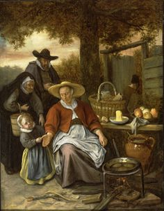 Jan Steen (Dutch, 1626 - 1679), The Pancake Woman, ca. 1661-1669