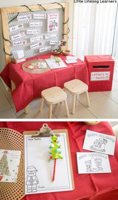 Set up a Christmas Dramatic Play space in your classroom or home. Featuring 7 easy stations like writing letters to santa and gingerbread play dough! Christmas Writing, Noel Christmas, Christmas Themes, Letter Writing, Christmas Activities For Toddlers, Preschool Christmas, Dramatic Play Area, Dramatic Play Centers, Xmas