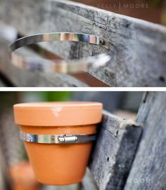 Attach small pots to a deck or pallet ... Brian's proved to have a green thumb. I'll have to remember this when we have a house! (but paint the bracket)