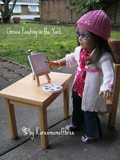 Another Dollar store Gem An Art Easel and Paint set paint set, girl doll, store gem, dollar store, art easel, american girl, doll craft, craft blogs, crafts