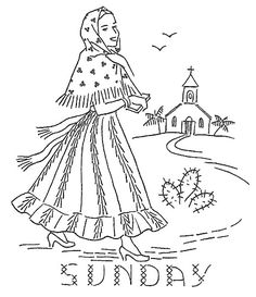 ♥♥ღPatrícia Sallum-Brasil-BH♥♥ღ Sunday Mexican Girl Days of the Week Embroidery Transfers, Hand Embroidery Patterns, Embroidery Applique, Cross Stitch Embroidery, Cross Stitch Patterns, Halloween Embroidery, Mexican Embroidery, Vintage Embroidery, Sewing Art