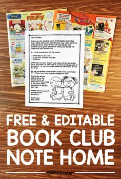 Free Book Club Letter the is editable from Simply Kinder.
