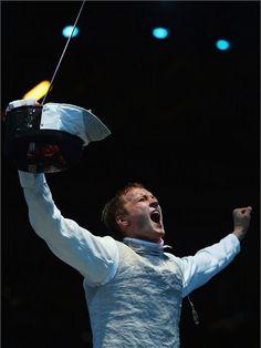 Artur Akhmatkhuzin celebrates men's Foil win#