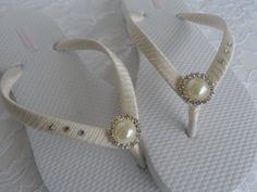 Marfil flip-flops nupciales / colores de la boda chanclas