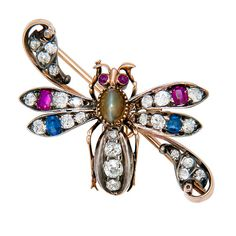 Victorian Precious Gem Set Bug Brooch | From a unique collection of vintage brooches