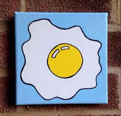 Diy canvas 295408056785984345 – Fried Egg Pop Art Painting, Acrylic On Block Ca… – Malerei Small Canvas Paintings, Easy Canvas Art, Small Canvas Art, Cute Paintings, Mini Canvas Art, Diy Canvas, Easy Canvas Painting, Portrait Paintings, Abstract Portrait