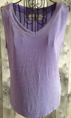 Chicos Travelers Sleeveless Stretch Jersey Tank Top Blouse Lavender 1/M 8 #Chicos #Top