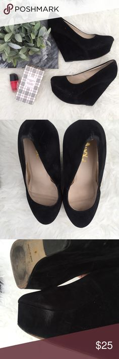 Black Velvet Pammy Platform Wedge Only worn once- in great condition and small marks in inside of shoe. Indentical to Steve Madden Pammy. Ordered from Lulus Lulu's Shoes Wedges