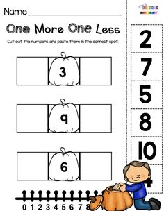 October Math and Literacy Pack - FREEBIES — Keeping My Kiddo BusyPUMPKIN NUMBERS - Kindergarten math center - one more one less cut and paste worksheet - printable math activities for October - Fall themed centers t. Numbers Kindergarten, Kindergarten Centers, Kindergarten Math Worksheets, Teaching Math, Halloween Math Worksheets, Math Groups, 1st Grade Math, Grade 1, Math Lessons