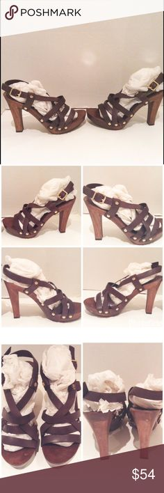 "Juicy Couture Brown Leather Platform Sandal Juicy Couture dark brown strappy platform sandal.  Wood 4.75"" heel.  Slingback.  Stud detail.  No trades. Juicy Couture Shoes Sandals"