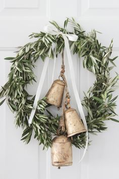 Fresh olive branch wreath with gold bells - neutral, fresh Christmas