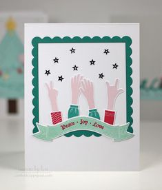 Peace Joy Love Card by Lexi Daly for Papertrey Ink (December 2014)