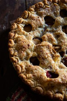 Pear and Cranberry Pie along w great ideas for flavoring top crust | Bakers Royale