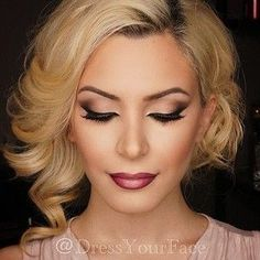 "Whether this is a ""Gatsby"" Makeup look is up for debate, but the gorgeous Blonde Hair Style + the stunning Ombré Lip of Rose Shades, along with the rest of this flawless beauty makeup is undeniable perfection!"
