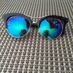 Black frame blue mirror cutout sunglasses!  Unique and sexy! Black frame cutout sunglasses! ❤️ Accessories Sunglasses