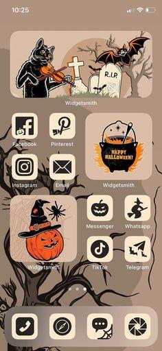 Halloween App Icons , iPhone iOS 14, 4 backgrounds , 20 pictures for widgets , Orange Apple Homescreen + Tutorial