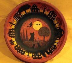 Halloween Folk Art Wooden Trick or Treat Bowl by RavensBendFolkArt