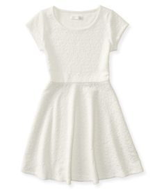 Kids' Solid Textured Cap Sleeve Dress -