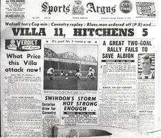 Aston Villa 11 Charlton Ath 1 in Nov 1959 at Villa Park. A newspaper report Joe Mercer, Super Club, Aston Villa Fc, Bristol Rovers, Charlton Athletic, Sir Alex Ferguson, Villa Park, Walsall