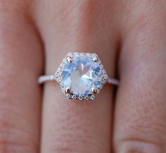 Hexagon Engagement Ring. White Sapphire Ring. 14k Rose Gold 2.57ct Round sapphire engagement ring by Eidelpresious