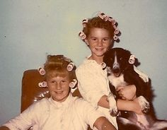 1963 - -Kids  dog with rollers in hair