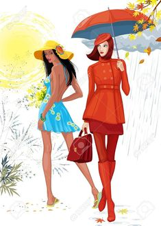 Illustration of two beautiful girls. Brunette girl in a blue dress images the summer time, and the girl in a red clothes with an umbrella images the autumn. Each girl is on a separate layer.