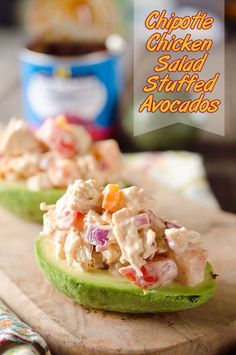 Chipotle Chicken Salad Stuffed Avocados are low-carb recipe full of fresh vegetables and flavor from a spicy chipotle sauce for a light and healthy packed lunch or dinner idea! #LowCarb #Healthy #LunchIdea #Light #Chicken #Easy #ChickenSalad