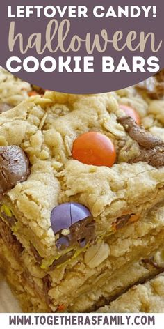Halloween Cookie Bars are the best way to use up all the leftover Halloween candy. Soft-baked, thick, chewy cookie bars loaded with chopped up candy! My kids love these cute Halloween cookie bars for a party. Halloween Themed Food, Halloween Cookies, Halloween Desserts, Halloween Candy, Pumpkin Recipes, Fall Recipes, Holiday Recipes, Candy Bar Cookies, Yummy Cookies
