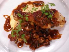 Chicken Chasseur (Hunter-Style Chicken) with Creamy Polenta with Gruyere and Parmesan recipe from Bobby Flay via Food Network