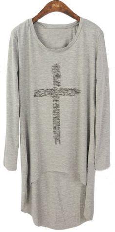 Grey Long Sleeve Cross Print Asymmetrical T-Shirt