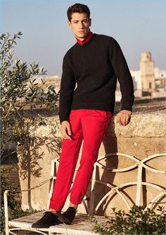 Going sporty, Nicolas Ripoll wears a sweater, track jacket, joggers, and shoes from H&M.