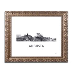 Marlene Watson 'Augusta Georgia Skyline WB-BW' Ornate Framed Art