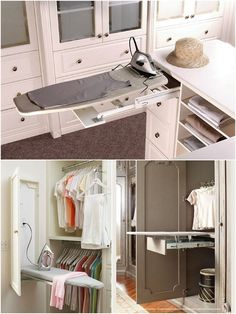 Adding this to my dream closet list: a pull out ironing board--so genius!