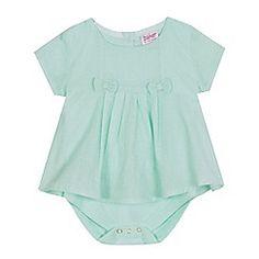 Baker by Ted Baker - Baby girls' light green pleated dobby bodysuit