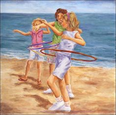 Hula Hooping girls at the beach - the hula hoop is 50 years old today, March 4, 2013.  I must have been 10 when I got my first one.