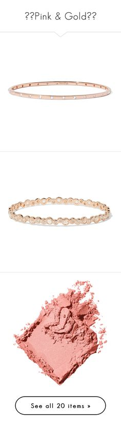 """⚜️Pink & Gold⚜️"" by alyssawui ❤ liked on Polyvore featuring jewelry, bracelets, accessories, rose gold, ippolita bangles, rose gold diamond bangle, sparkle jewelry, rose gold jewellery, ippolita and hinged bangle"