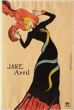 Touluse Lautrec works - the contrast of the colorful snake and the black dress give it a lot of emphasis.