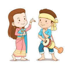Illustrations Discover Cute Couple Cartoon Of Traditional Thai Dancers. Dancing Clipart, Dance Vector, Dancing Drawings, Cute Drawings, Cute Couple Cartoon, Cute Cartoon, Character Design Girl, Man Character, Boy Illustration