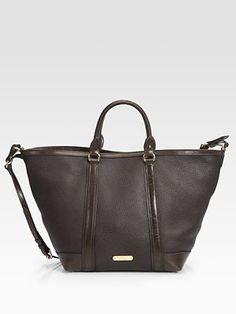 Amazing pebbled brown leather tote by Burberry