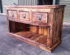 pallet rustic chest of drawers
