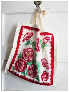 Vintage Hankie Tote Bag Upcycled Red Floral by beevintageredux, $21.00
