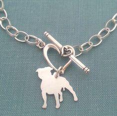 Staffordshire bull terrier Dog Chain Bracelet Sterling by DiBAdog